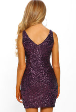 Purple Sequin Mini Dress - Back