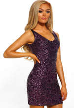 Purple Sequin Mini Dress - Front