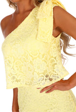 Dream Day Lemon Lace Asymmetric Midi Dress