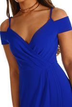 Cobalt Blue Wrap Mini Dress - Wrap Front detail