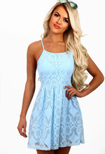 Dreamboat Baby Blue Lace Skater Mini Dress