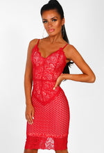 Red Lace Bodycon Midi Dress - Front