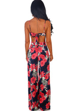 Beach Talk Navy and Pink Floral Wide Leg Trousers