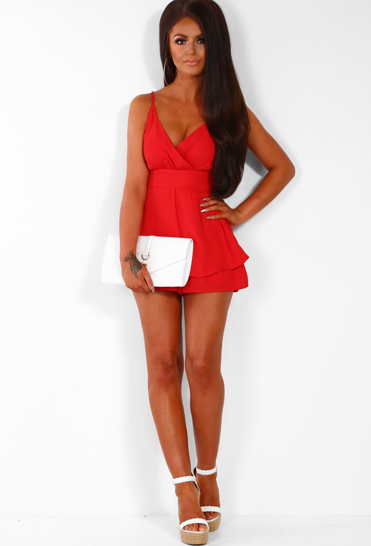cea58acbdb08 Dressed In Love Red Wrap Playsuit – Pink Boutique UK