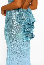Freja Blue Sequin Chiffon Maxi Dress