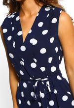 Navy Polka Dot Culotte Jumpsuit - Detail