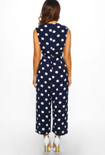 Navy Polka Dot Culotte Jumpsuit - Back