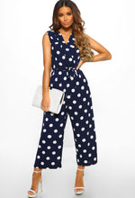 Navy Polka Dot Culotte Jumpsuit - Front with Accessory