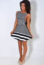 Blurred Lines Black and White Sleeveless Skater Dress