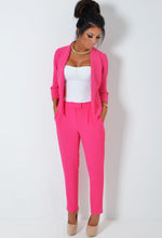 Doll Hot Pink Textured Drape Blazer Jacket