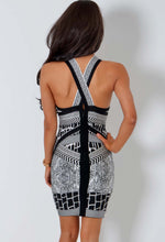 Invite LUXE Black and White Multi Print Bandage Dress