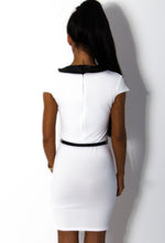 Rayne White and Black Belted Bodycon Tuxedo Dress
