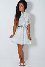Amika Neon Rose Acid Wash Denim Dress