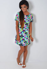 Verdant Neon Green Floral Print Shift Dress