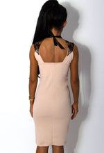 Elena Nude Crochet Detail Ribbon Tie Dress