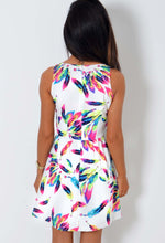 Nomad White Neon Feather Print Skater Dress