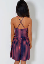 Jax Navy and Neon Pink Stripe Skater Dress