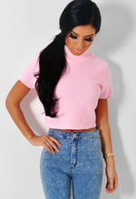 Caria Pink Cropped Knitted Jumper