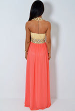 Donna LUXE Super Embellished Peach and Cream Jewel Maxi Dress