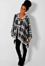 Elle Black and Off White Thick Tartan Buckle Cape
