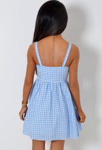 Gilda Blue and White Check Gingham Skater Dress