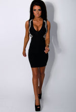 Fallen Luxe Black Plunge Crystal Illusion Bandage Dress