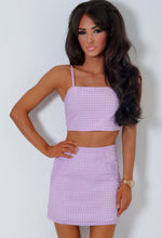 Cher Sugar Lilac Check Layered Mini Skirt