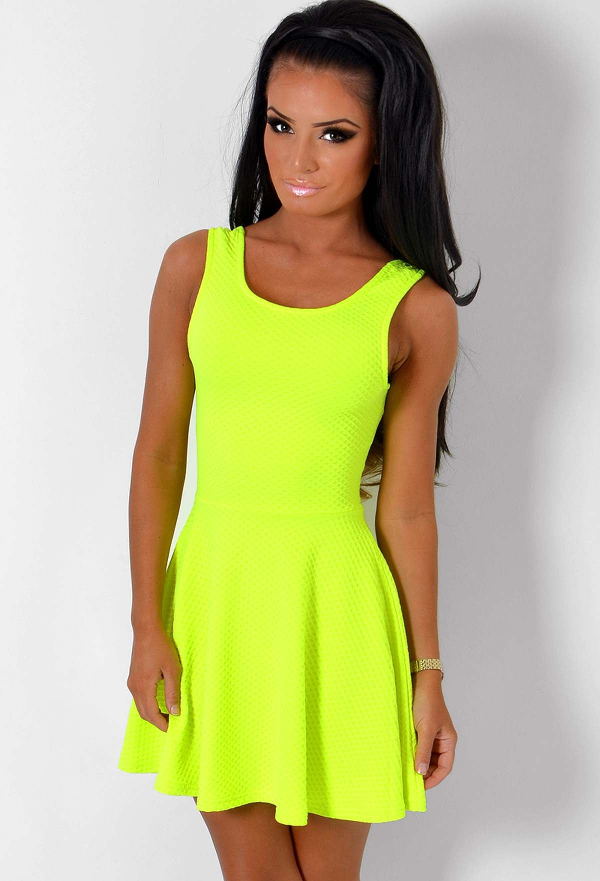 320cc5755064 Rawena Neon Lime Super Stretch Skater Dress – Pink Boutique UK