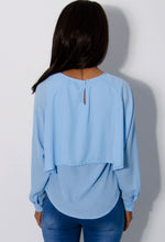 Carine Powder Blue Chiffon Cape Overlay Blouse