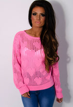 Polly Bright Pink Heart Knit Mesh Jumper