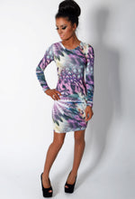 Violet Multicolour Tropical Print Bodycon Dress