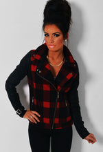 Turnbull Black & Red Tartan Leather Sleeved Jacket