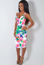 Canadian Neon Tropical Floral Print Padded Halter Bodycon Midi Dress