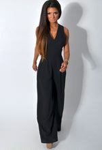 Tamsin Black Wide Leg Crossover Crepe Jumpsuit