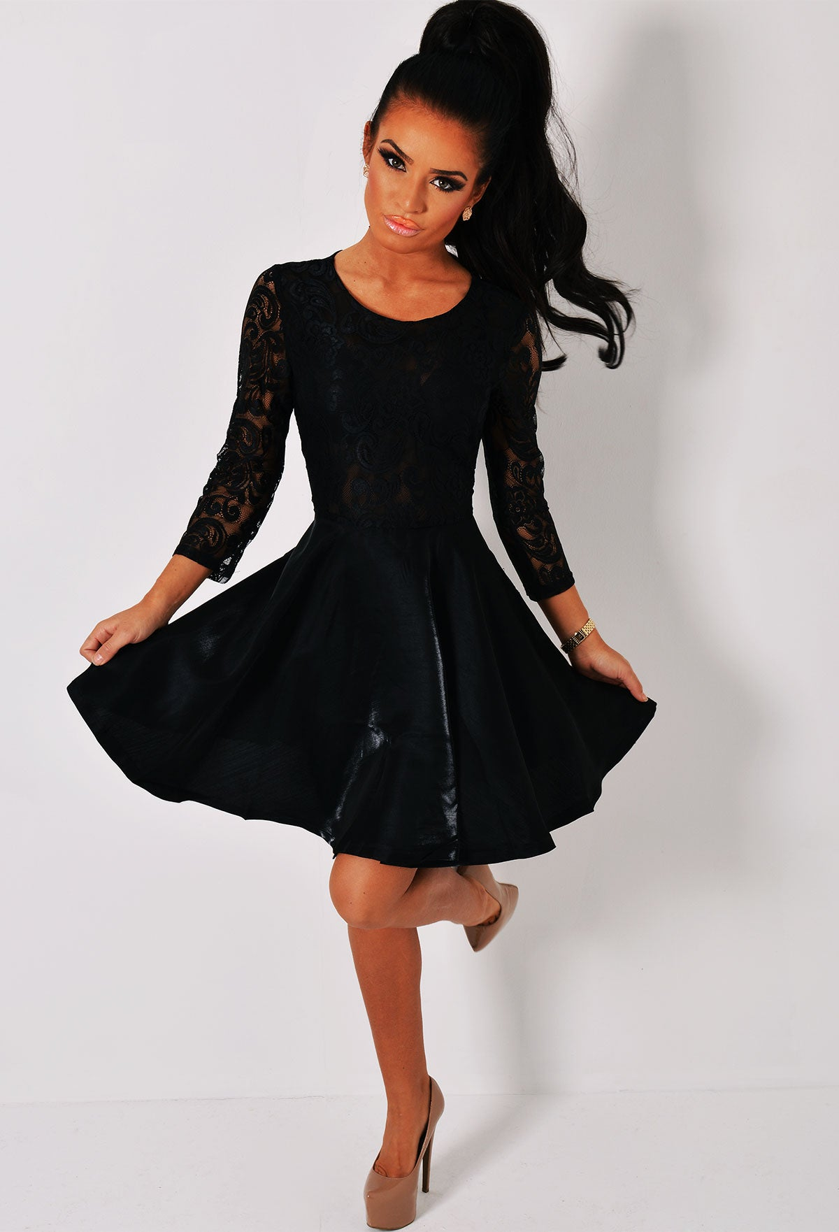Envious Black Long Sleeved Lace Skater Dress – Pink Boutique UK 2f17a91e5