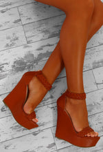 Dusk Till Dawn Tan Woven Platform Wedges