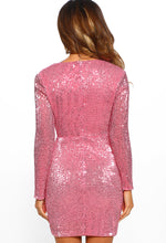 Earned My Divaship Pink Sequin Long Sleeve Mini Dress