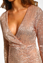 Earned My Divaship Rose Gold Sequin Long Sleeve Mini Dress
