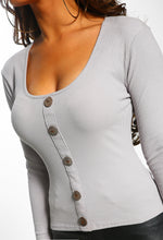 Eastside Lover Grey Button Front Long Sleeve Ribbed Top