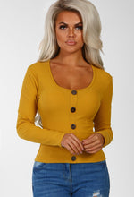 Mustard Button Front Long Sleeve Top