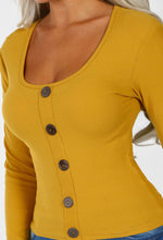 Mustard Button Front Ribbed Top
