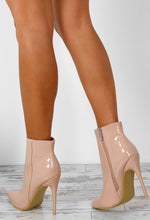 Easy Breezy Nude Patent Stiletto Heel Ankle Boots
