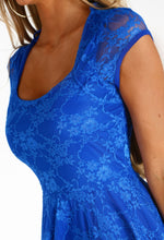 Easy On The Eyes Cobalt Blue Lace Skater Dress