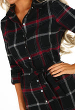 Electric Check Black and Burgundy Check Shirt Dress