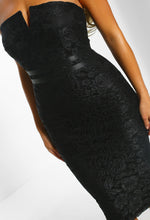 Black Lace Strapless Bodycon Midi Dress - Front Closeup Detail