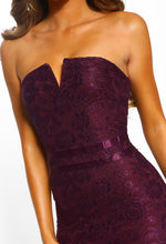 Plum Lace Strapless Bodycon Midi Dress - Front Closeup View