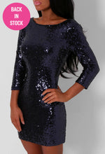 Ellie Navy Sequin Mini Dress