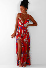 Eloise Red Floral Split Leg Jumpsuit