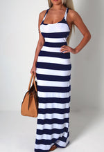 Emilee White and Navy Stripe Maxi Dress