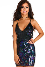 En Vogue Navy Sequin Tassel Mini Dress